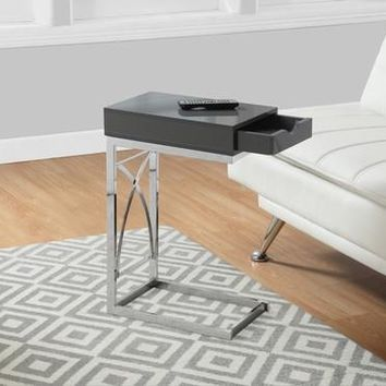 Chrome Metal Glossy Grey Accent Table With A Drawer