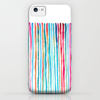 Watercolor Stripes in Pink, Coral, Blue & Aqua iPhone & iPod Case by micklyn