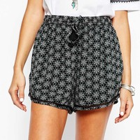 New Look Embroidered Festival Shorts