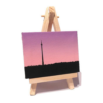 Emley Moor Tower Miniature Art - small landscape painting of Emley Moor Mast, Yorkshire, with a pink purple dawn sky. Mini canvas with easel
