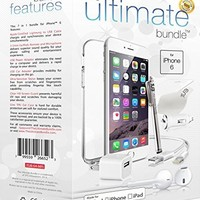 The Ultimate Bundle for iPhone 6 / 6s - Lightning Cable, Wall Charger, Car Adapter, Earbuds, TPU Case, Screen Guard, Charging Kit