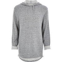 River Island MensGrey longer length zip side hoodie
