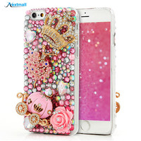3D Glitter Bling Diamond Back Cover Case For iPhone 4 4S 5 5S 5C 6 6S Plus For Samsung Galaxy S5 S6 Edge Plus Note 5 A8
