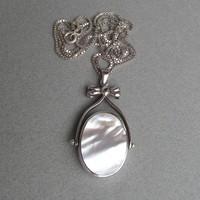 Vintage Reversible Black Onyx, White Mother-of-Pearl Sterling Silver Bow FLIP Pendant Necklace
