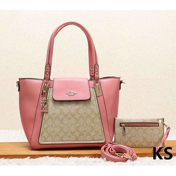 COACH Fashion New Leather Shopping Leisure Shoulder Bag Handbag Two Piece Suit Women Pink
