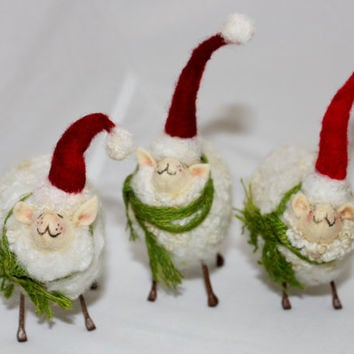 Sheep, Needlefelted Fuzzy Christmas Prim Sheep Elf
