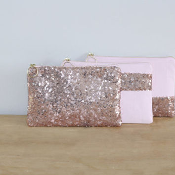 Blush Pink Sequins Bridesmaid Gift Set / Bachelorette Party Favors - Rose Cosmetic Clutch with Fancy Ring Pull - Choose Quantity and Style