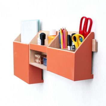 Wood Wall Hanging Orange Organizer, Wall Office Paper organizer, Modern pen holder, Office Mail Storage set, Hanging wooden home organizer