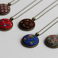 Bohemian Wedding, Floral Jewelry Vintage Fabric Necklace Bridesmaid Gift Set of 5 Necklaces To Choose From, Boho Jewelry Brown, Blue, Red