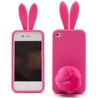 Cute Rabbit Silicone Bunny Case For iPhone 4S with Furry Tail - Hot Pink (Tail is a Stander, not attached on the case)