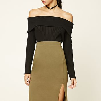 Off-Center Slit Pencil Skirt