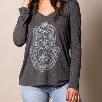 Hamsa Om Long Sleeve V Neck Tee