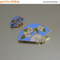 ON SALE Fan Brooch Pins, Vintage, Two Faux Cloisonne Scatter Pins, Enamel, Gold Tone Metal, Charming!