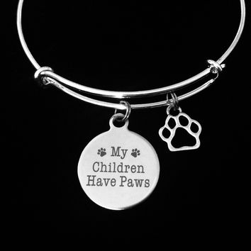 My Children Have Paws Silver Expandable Bracelet Adjustable Wire Bangle Paw Print Dog Cat Animal Lover