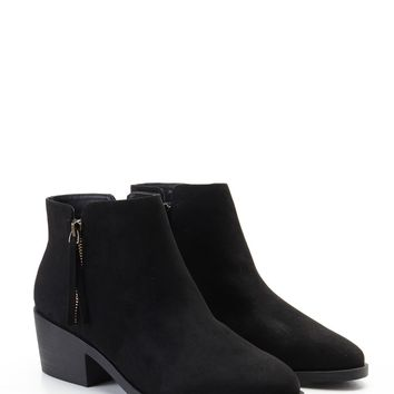 Faux Suede Side-Zip Booties