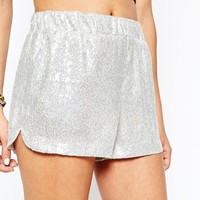 Jaded London Mini Festival Shorts In Holographic Sequin Co-Ord