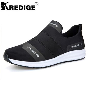 KREDIGE Breathable Non-Slip Casual Men's Shoes Hard-Wearing Soles Breathable Streth Fabric Shoes Letter Pattern Men Shoes 39-44