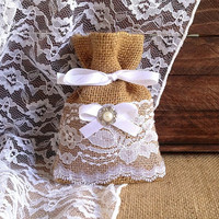 10 white lace covered natural burlap favor bags, wedding, bridal shower, tea party, baby shower rustic gift bags