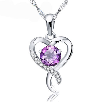 Amethyst and CZ Heart in 925 Sterling Silver Necklace