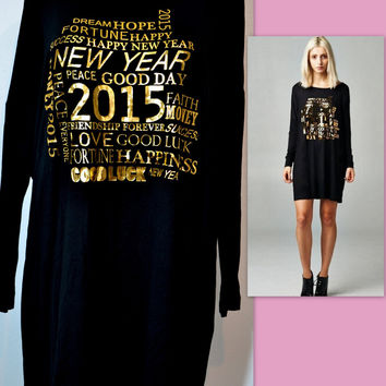 RED LOLLY HAPPY NEW YEAR 2015 BLACK/GOLD FOIL OVERSIZE TUNIC DRESS S-M-L