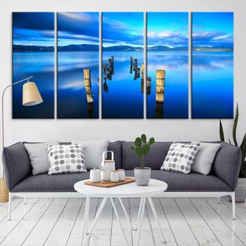 72146 - Clouds in Blues on the Sea  Wall Art Large Canvas Print