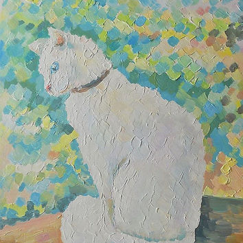 White Cat Oil Painting Still Life Palette knife Textured Original Russian Artist Art Pastel Colors Pet Portrait Animalism Photo to Painting