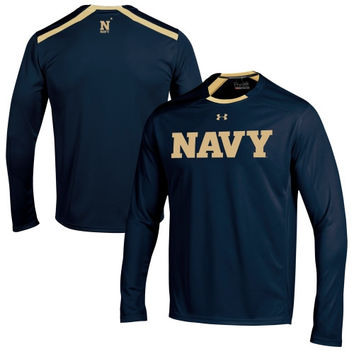 Navy Midshipmen Under Armour 2014 Sideline Win It Performance Long Sleeve Top – Navy Blue