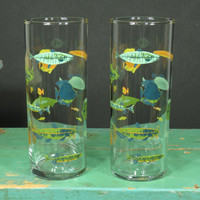 2 Tropical Fish Collins Glasses • Mid Century Barware • Libbey Tumblers • Vintage Tiki • Cocktail Glass