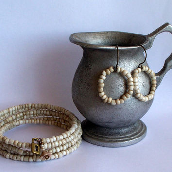 Egg Shell Memory Wire Wrap Bracelet And Earring Set