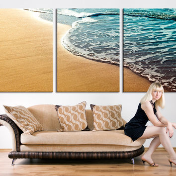 Extra Large Wall Art - Large Canvas Print Beach and Wave, 3 Panel Canvas Print, Triptych Art Large Wall Art Print