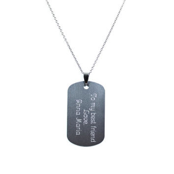 Engraved Dog Tag, Stainless Steel Necklace, Personalized Necklace, Name Necklace, Engraved Jewelry, Silver Dog Tag Necklace, Gift For Him