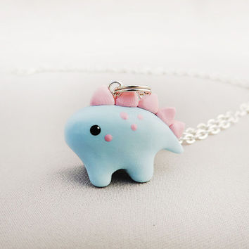 Kawaii Cotton Candy Pastel Stegosaurus Dinosaur Necklace