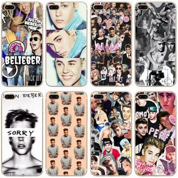 Justin Bieber Collage Transparent Hard Thin Case Cover For Apple iPhone 4 4S 5 5S SE 5C 6 6S 7 8 X Plus
