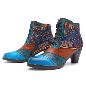 Johnature Vintage Style Lace Up Leather Ankle Boots