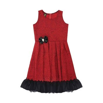 Ruby Red Fit & Flare Ruffled Chic Holiday Party Christmas Dress Girls