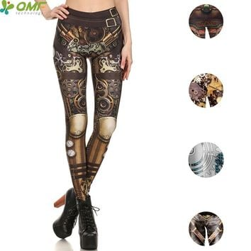 Mechanical Gear Armor 3d Print Punk Women Yoga Pants Halloween Costume Gym Leggings Fitness Tights CYBORG Pencil Trouser Skinny