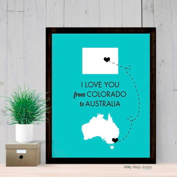 Long Distance Map Art - Any Two States - Travel Poster