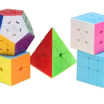 Zcube 5pcs/set NO Stickers Cubo Magico Puzzle Fidget Toy Neo Cube Learning Education Toys Speed Magic Cube Set for Children