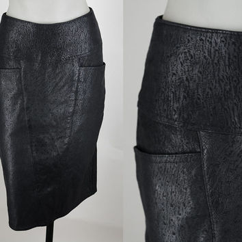 Vintage 70s Skirt / 1970s Textured Black Leather Midi Pencil Skirt XS
