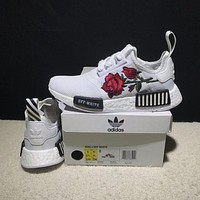 Sale OFF WHITE x Adidas Consortium NMD R1 Flower Boost Sport Running Shoes Classic Casual Shoes Sneakers