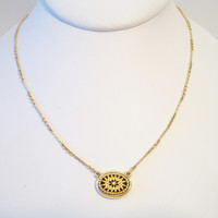 Avon Black Oval Medallion Pendant Necklace Enamel Starburst Gold Tone Costume Jewelry Fashion Accessories For Her