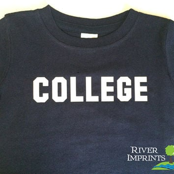 Toddler COLLEGE, baby and toddler t-shirt