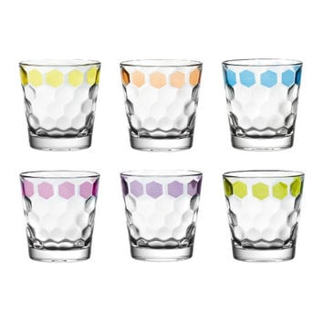 Majestic Gifts Quality Glass Double Old Fashioned Tumbler Set of 6 Assorted Colors