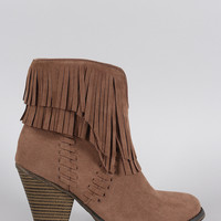 Suede Asymmetrical Fringe Chunky Stacked Heeled Ankle Boots