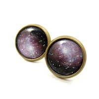 Galaxy Earrings - Space Jewelry - Lilac Purple Glitter Jewelry - Free Worldwide Shipping - Under 25