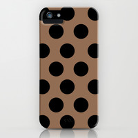 BROWN CLASSY POLKA DOTS iPhone & iPod Case by Allyson Johnson