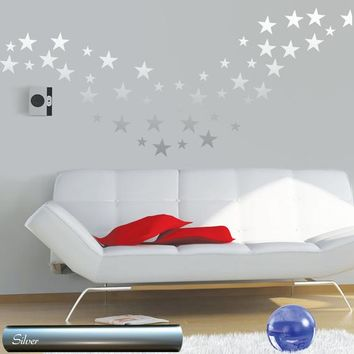 Wall decals STARS - Gold Silver Copper Stars Pattern - Set of 60 stars vinyl stickers - Bedroom Nursery decor - Multi-sized Stars stickers