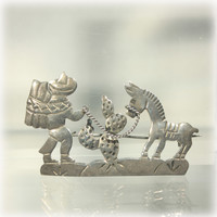 Southwest Mexican Sterling MBM Figural Brooch