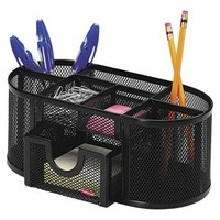 Rolodex Steel Mesh Pencil Cup Organizer with Four Compartments - Black