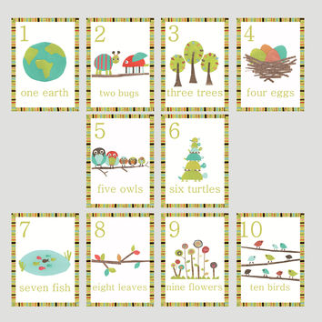 Nature Counting Wall Cards in English -  Set of Ten 5 x 7 Cards
